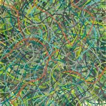 Tangle (orange-green) - Painting by Jennifer Morrison