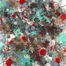 Untangle (red) - Painting by Jennifer Morrison